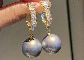 Kolczyk z perłą złoto-szary