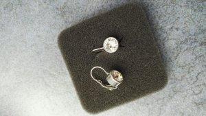 Ohrringe 925 Silber mit Zirkonia Steinen, Klappverschluss