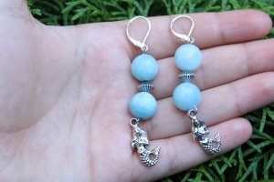 handmade Dangle light blue-silver-colored