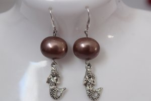 handmade Dangle brown-silver-colored