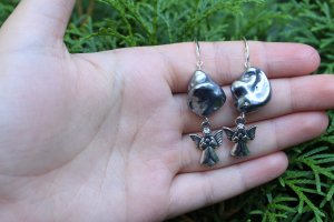 handmade Dangle silver-colored-grey