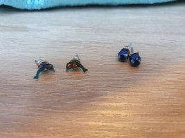 Clou d'oreille multicolore tissu mixte