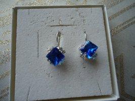 Boucle d'oreille incrustée de pierres bleu