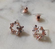 Ohrringe Blüten Blumen Flowers Perlen Metall rosegold 925 Sterling Silber Stecker