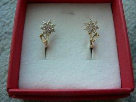 Ohrringe Blume Zirkonia 585 Gelbgold