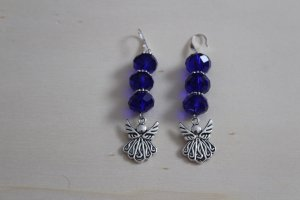 handmade Dangle silver-colored-dark blue