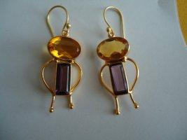 Ohrringe Citrin Amethyst vergoldet