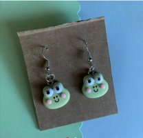 Handmade Silver Earrings lime-green