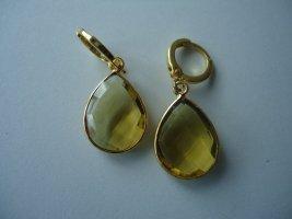 Boucle d'oreille incrustée de pierres doré-vert gazon