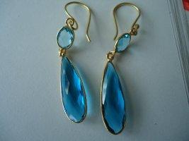 Pendientes colgante color oro-azul neón