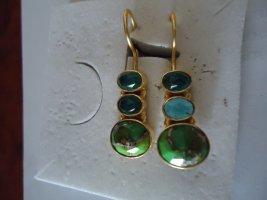 Ohrringe Messing vergoldet grüne Mohave