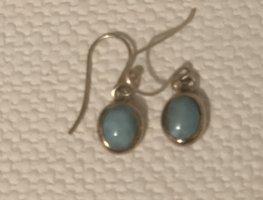 Pendant d'oreille turquoise-argenté