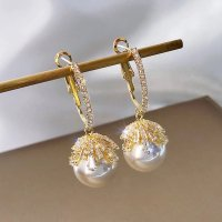 Modeschmuck Pearl Earring gold-colored-natural white