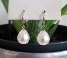 Hand made Boucles d'oreilles en perles blanc-argenté