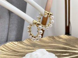 Ohrringe neu Creolen Perlen gold