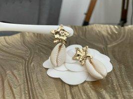 Ohrringe neu Muschel Stern gold Stecker ungetragen Sommer