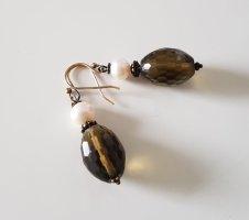 Ohrringe Ohrhänger echte Perle Quarz Gold NEU
