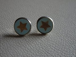 Ear stud turquoise-gold-colored
