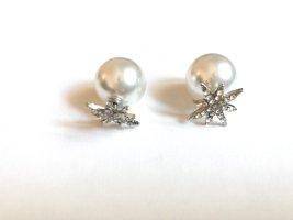 Kolczyk z perłą srebrny-biały