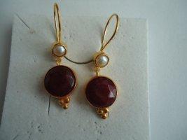 Ohrringe Rubin silber vergoldet Perle