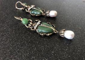 Ohrringe Scarab Käfer Smaragdgrün Baroque Perle pearls gold bugs