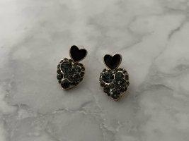 Ohrringe schwarz gold neu Stecker Herz Strass