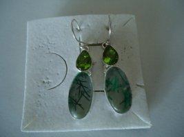 Ohrringe silber grün-blauer Rutilquarz