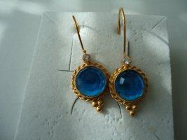 Ohrringe silber vergoldet hellblauer Saphir mit Zirkon