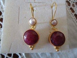 Ohrringe silber vergoldet Perle und Rubin