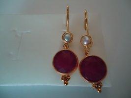 Ohrringe silber vergoldet Rubine Perle