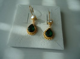 Ohrringe silber vergoldet Smaragd weisse Topas