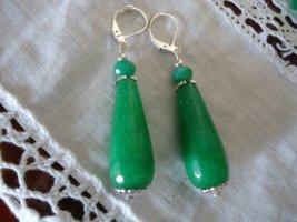 Ohrringe Smaragd silberfarben