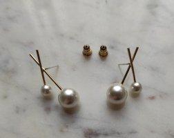 Ohrringe Stäbchen Perlen gekreuzt 925 Sterling Silber Stecker