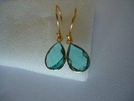 Ohrringe vergoldet Blautopas
