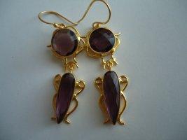 Ohrringe vergoldet lila Amethyst