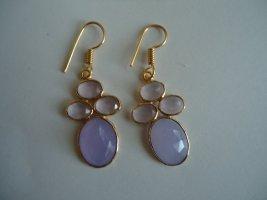 Ohrringe vergoldet lila Calcedon
