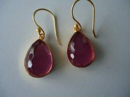 Ohrringe vergoldet Messing rosa Turmalin