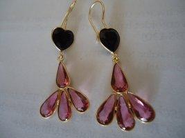 Ohrringe vergoldet schwarzer Onyx Rubylite