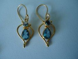 Ohrringe vergoldet strahlende Blautopase