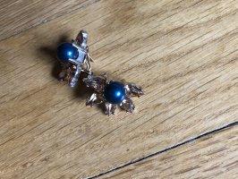 Cadenzza Ear stud gold-colored-dark blue