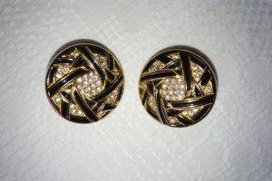 Christian Dior Klips czarny-złoto Metal