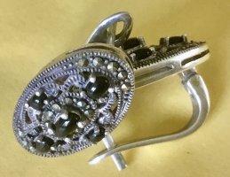 True Vintage Kolczyk ze sztyftem srebrny-czarny Metal