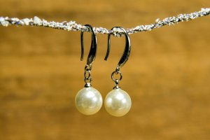 echt Silber 925 Wiszące kolczyki srebrny-biały