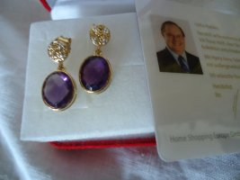 Silver Earrings gold-colored-dark violet