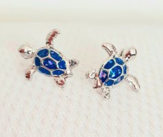 Vision Sea Life Oorstekers zilver-lichtblauw