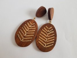 Mango Statement Earrings multicolored wood
