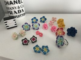 Ohrstecker Ring Set Neu Blumen