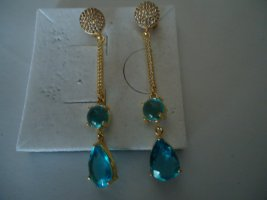 Ear stud gold-colored-neon blue