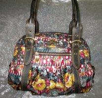 Oilily Marken Tasche Shopper Bag HandtascheHenkeltasche  braun Lederapplikationen Paisley florales Muster  sehr gut