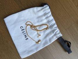 Old Céline Alphabet Pendant Necklace Gold 40cm